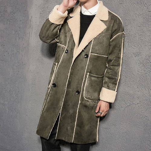 Plus Size Lapel Velvet Single-Breasted Men's Trench Coat