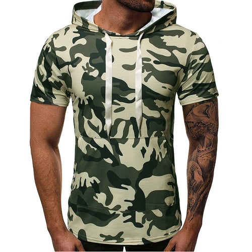 Sleeve Hooded Camouflage Men's T-shirt