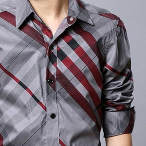 Striped Long Sleeve Single-Breasted Men's Shirt