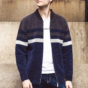 Color-blocked Stand Collar Warm Men's Sweater