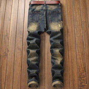 Hole Worn Casual Cotton Blends Men's Jeans