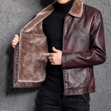 Fur Collar Smooth PU Men's Leather Coat