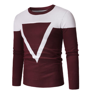 Geometric Long Sleeve Pullover Round Neck  Men's Sweater