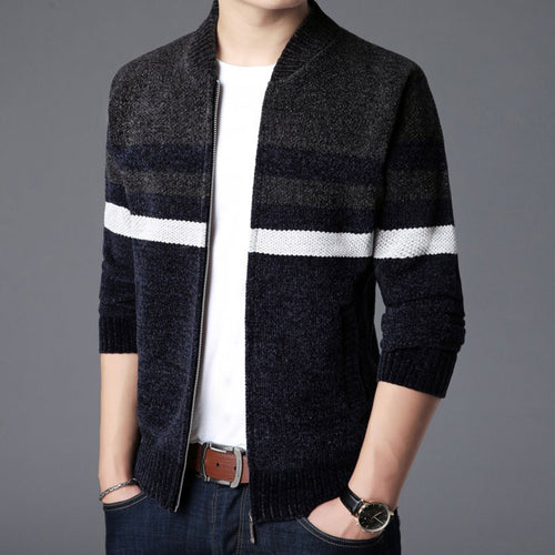Thickened Slim Patchwork Contrast Color Stand Collar Men's Sweater