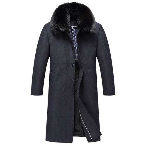 Long Sleeve Fur Collar Pure Color With Velvet Men's Trench Coat