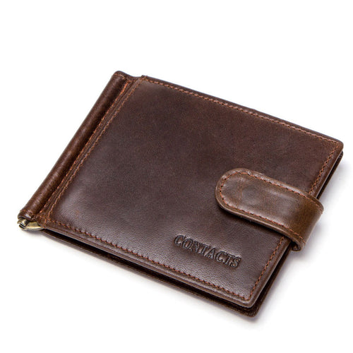 Soft Genuine Leather Buckle Men's Wallets