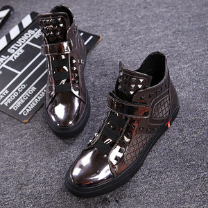 British Patent Leather Magic Sticker Men's Boots
