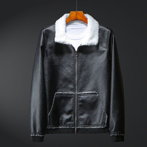 PU Patchwork Turn-down Collar Striped Men's Jackets Coat