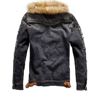 Plus Size Worn Zipper Pocket Polyester Men's Jackets Coat