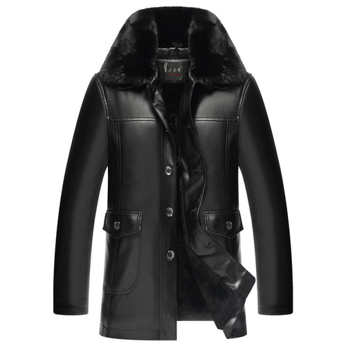 Fur Collar Single-Breasted Extra Heat Men's Leather Coat