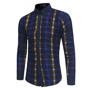 Lattice Pattern Long Sleeve Single-Breasted Men's Shirt