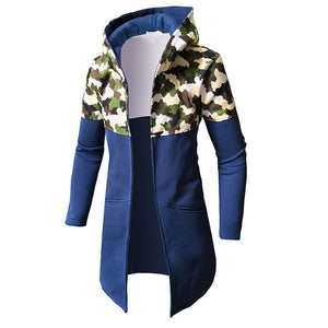Hooded With Velvet Printing Loose Men's Trench Coat