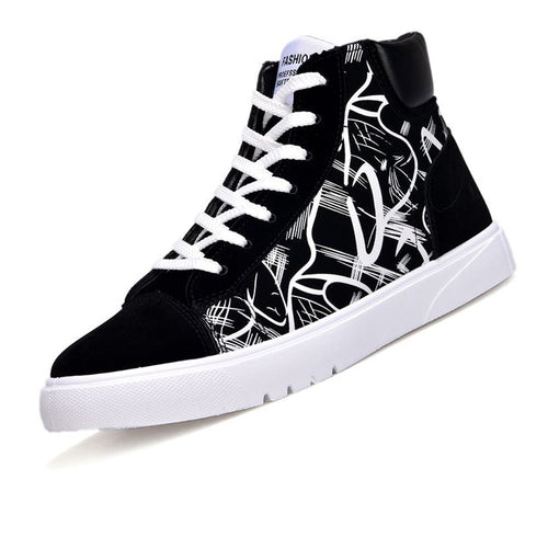 Canvas Collage Color High Help Men's Casual Shoes