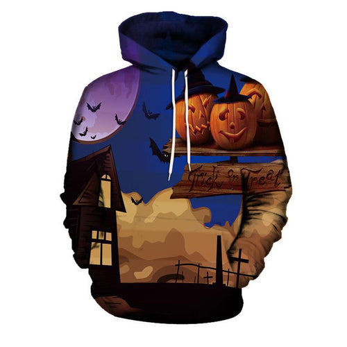 Gradient Pumpkin Bat Printing Cotton Blends Men's Hoodies