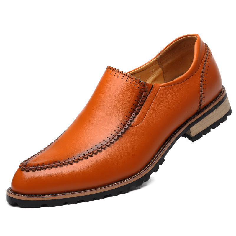 Pure Color Rubber Casual Point Toe Men's Dress Shoes