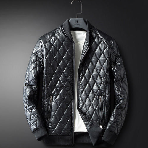 PU Cotton Zipper Round Neck Men's Leather Coat