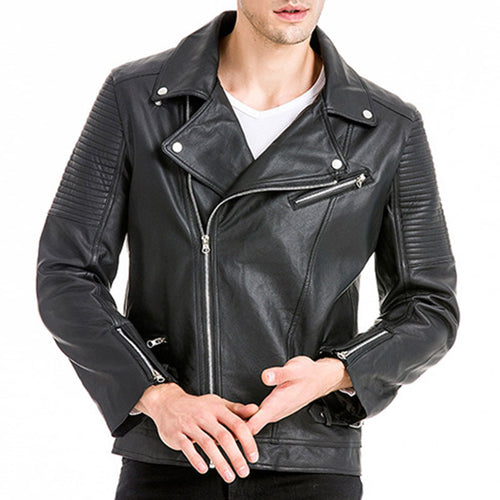 Punk Rock Short Waterproof Men's Leather Coat