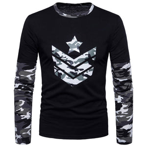 Camouflage Print Round Neck Casual Simple Men's Shirt