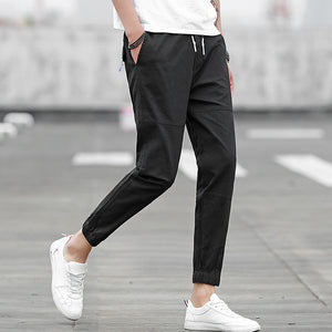 Elastic Belt Casual Cotton Pants
