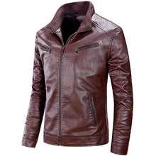 Stand Collar Pure Color Zippered Men's Pleather Coat