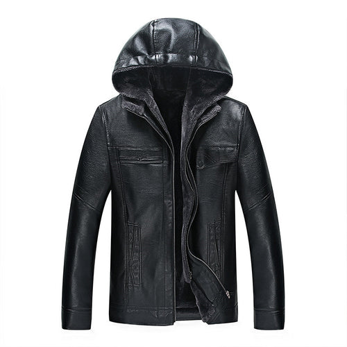 Comfortable Solid Color Hooded Men's Leather Coat