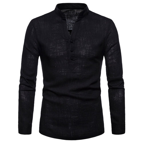 Casual Plain Stand Collar Long Sleeve Men's Shirts