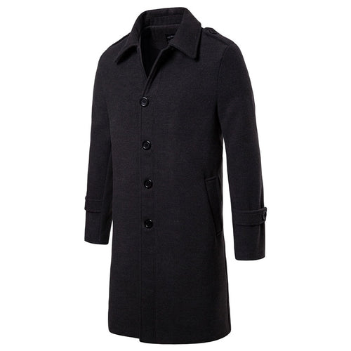 Single-Breasted Thickened Epaulet England Men's Trench Coat
