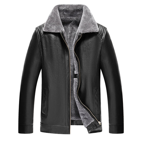 Fur Collar Glossy Zipper Men's Leather Coat