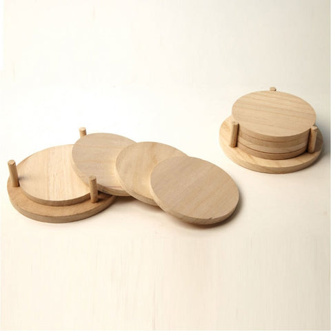 Four Wooden Coasters & Stand