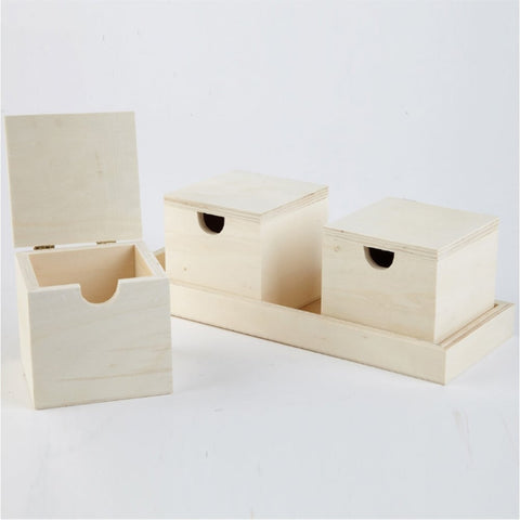 Wooden Boxes in a Tray