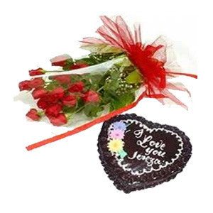 Send 24 Roses and 1KG Cake to Bangalore