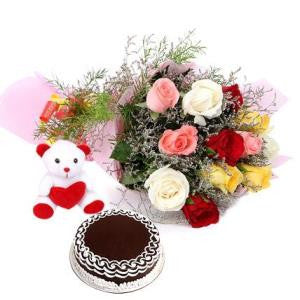 Send Roses cakes & soft toy to Bangalore through The Pastry Inn
