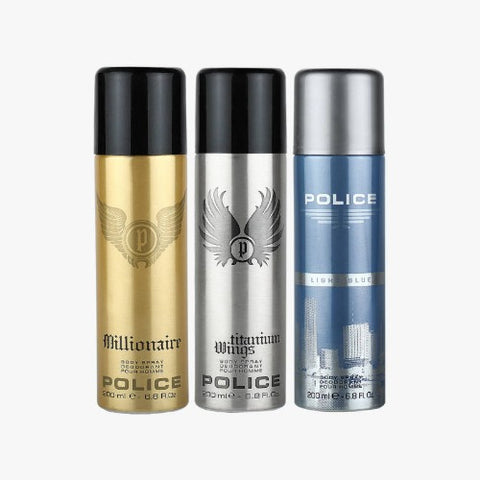 Buy original Police Deodorant Pack of 3 For Men 200ml only at Perfume24x7.com