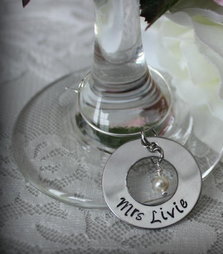 Bride Groom Pair Hand Stamped Wedding Wine Glass Charms - Anna Bea ...