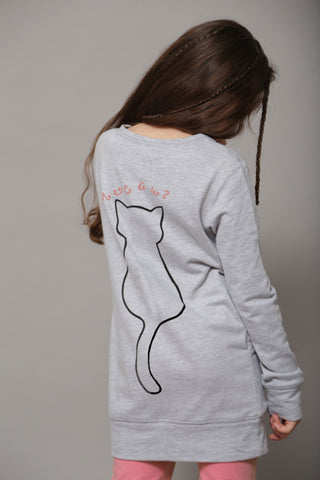 Princess Orchid Meow Long Sweatshirt
