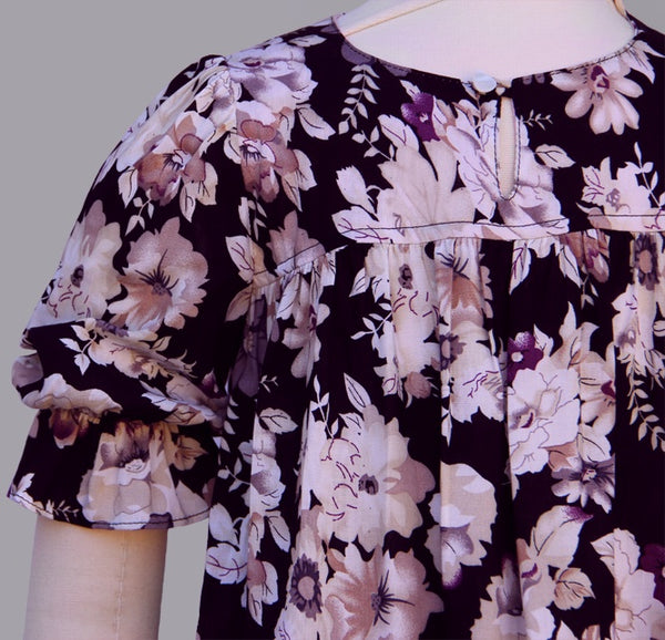 Princess Orchid French Country Black and Purple Floral Dress