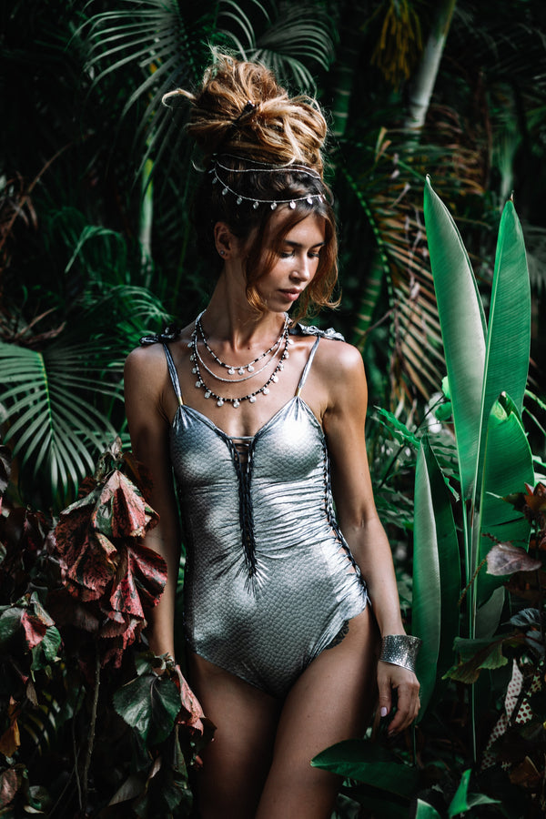 "Metallic Silver One Piece Swimsuit For Women ""SIDE"" - One Piece - [By Goa Magic Fashion]"