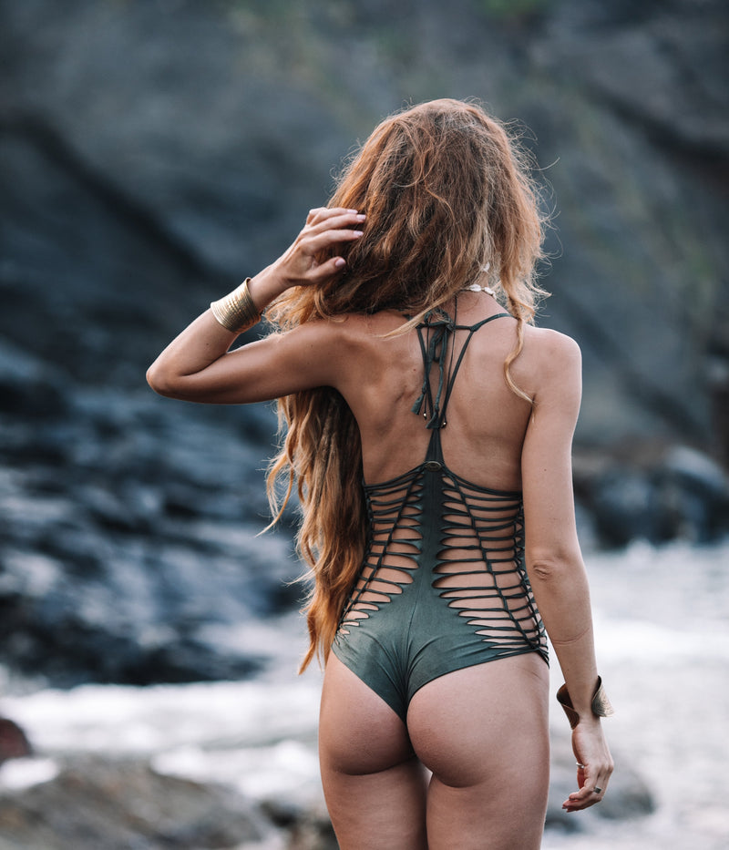 "Olive Green One Piece Swimsuit For Women ""DORIN"" - One Piece - [By Goa Magic Fashion]"