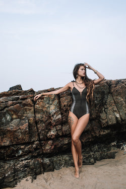 "Suede Look Dark Khaki Combo One Piece Swimsuit For Women ""HILA"" (Lycra Fabric) - One Piece - [By Goa Magic Fashion]"