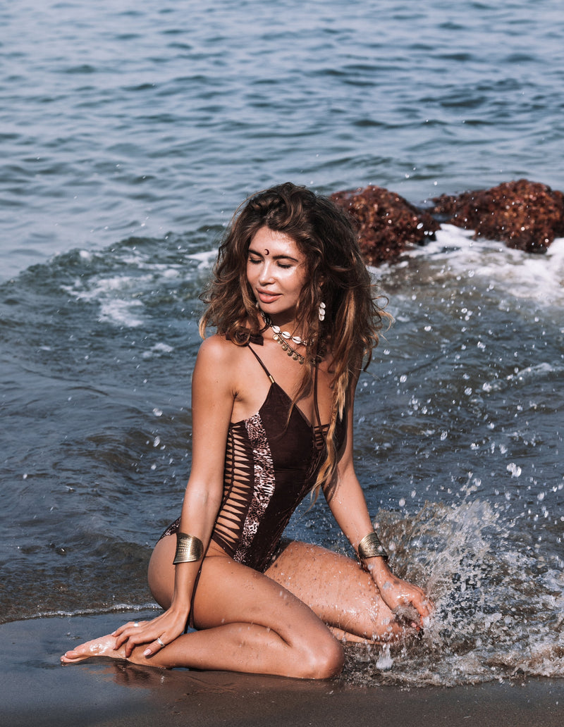 "Brown And Leopard Print One Piece Swimsuit For Women ""HILA"" - One Piece - [By Goa Magic Fashion]"