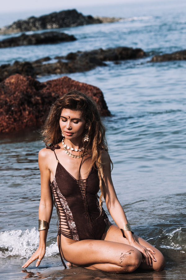 "Brown And Leopard Print One Piece Swimsuit For Women ""HILA"" (Lycra Fabric) - One Piece - [By Goa Magic Fashion]"