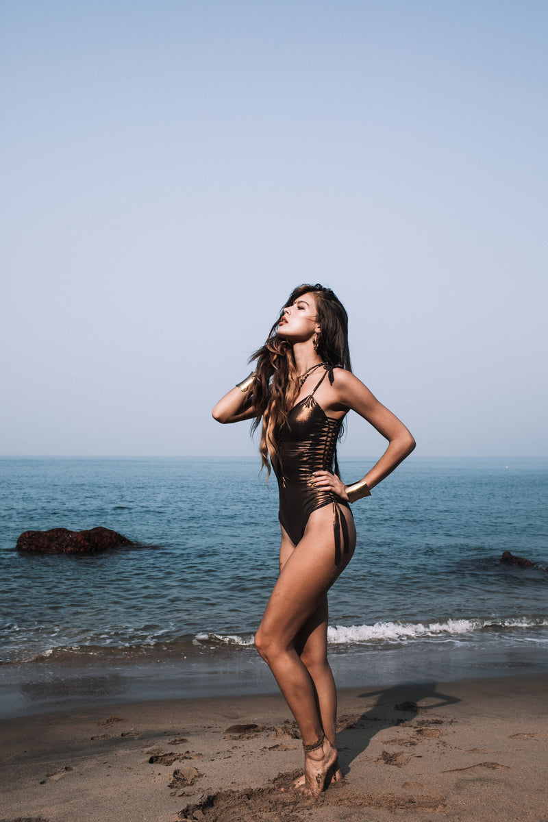 "Metallic Bronze One Piece Swimsuit For Women ""SIDE"" - One Piece - [By Goa Magic Fashion]"