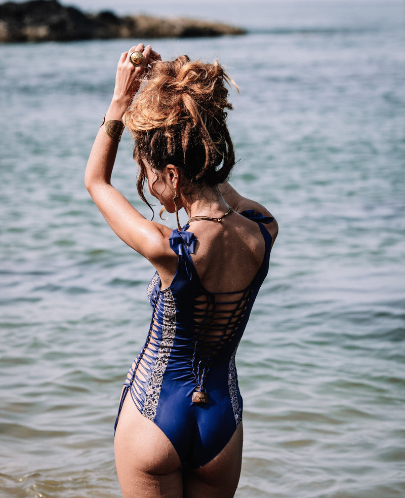 "Blue One Piece Swimsuit For Women ""HILA"" (Lycra Fabric) - One Piece - [By Goa Magic Fashion]"