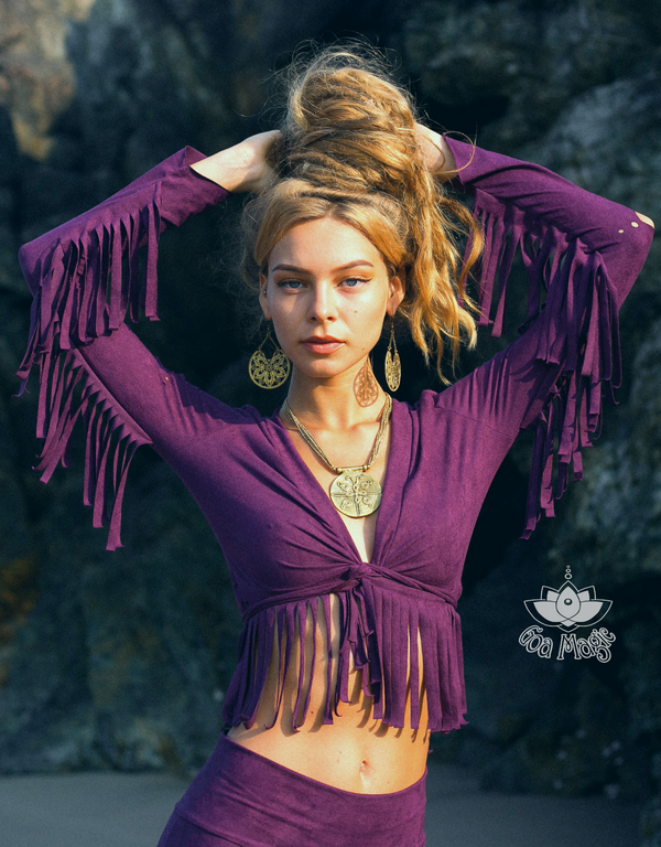 Long Sleeve Fringe Tank Top in Suede Dark Purple