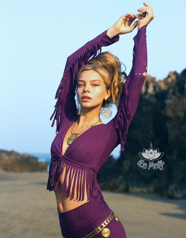 Long Sleeve Fringe Tank Top in Suede Dark Purple - goa-magic-fashion