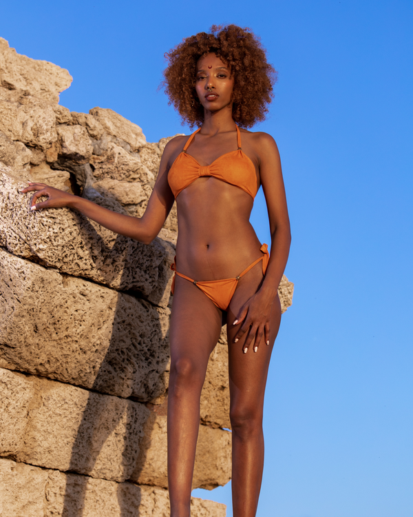 "Suede Look Orange Bikini Set For Women ""BEADS"""