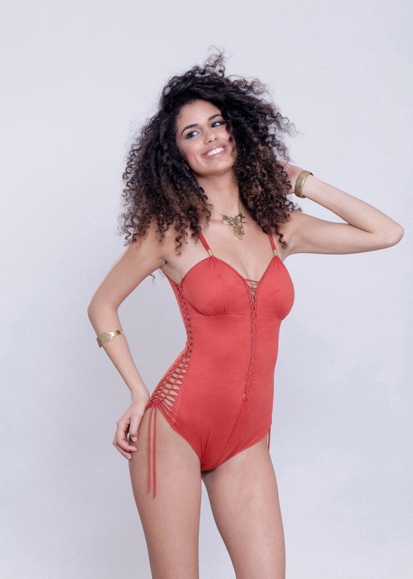 "Suede Look Orange One Piece Swimsuit For Women ""DELI"" - One Piece - [By Goa Magic Fashion]"