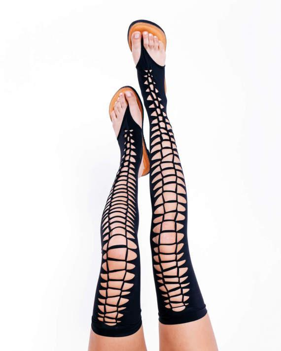 Over The Knee Gladiator Sandals In Black