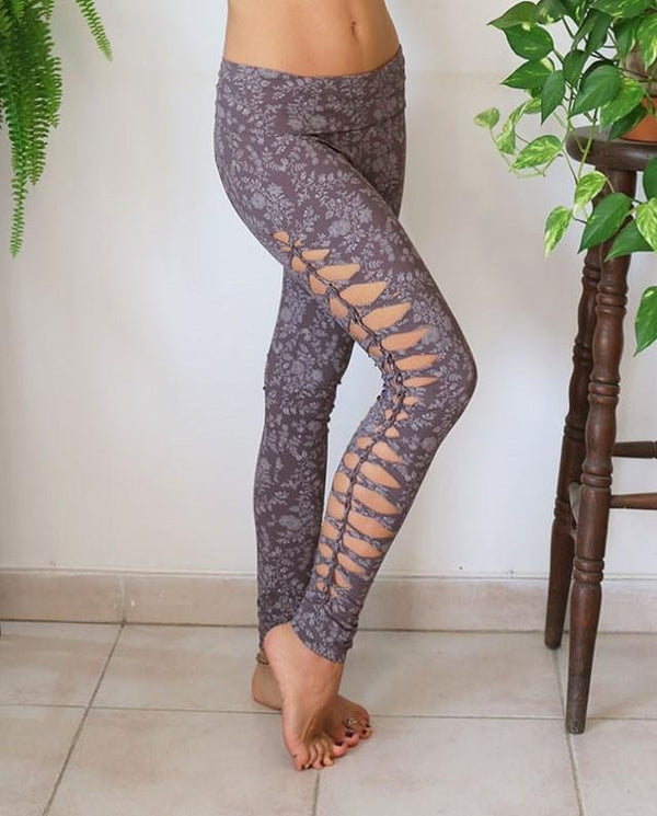 Yoga Legging For Women In Printed Gray - Yoga Pants - [By Goa Magic Fashion]