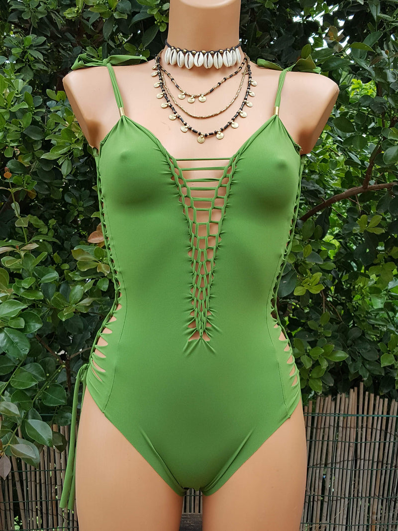 Clearance - Green Swimsuit For Women (Lycra Fabric) - goa-magic-fashion